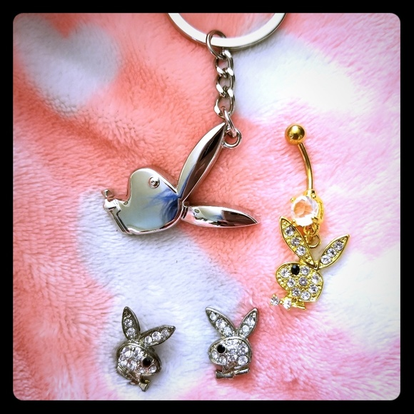 PLAYBOY Jewelry - Playboy bunny belly ring keychain and earrings